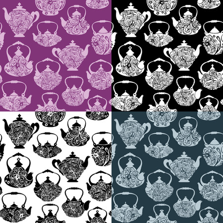 mod: Set of seamless pattern with retro design china tea pots  - vintage background. Black and white silhouettes on purple, black, white and navy blue backgrounds.  Ready to use as swatch.  Illustration