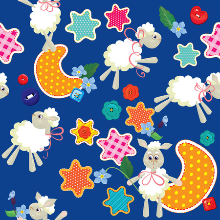 Seamless pattern - sweet dreams - sheep toys, stars and moon are made of fabric - childish background. Ready to use as swatch  Vector