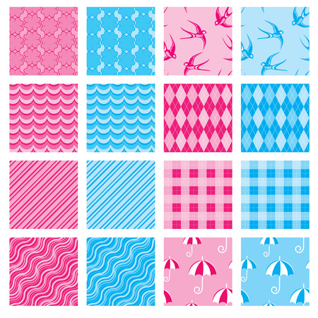 Set of fabric textures in pink and blue colors - seamless patterns for girls and boys.  Vector