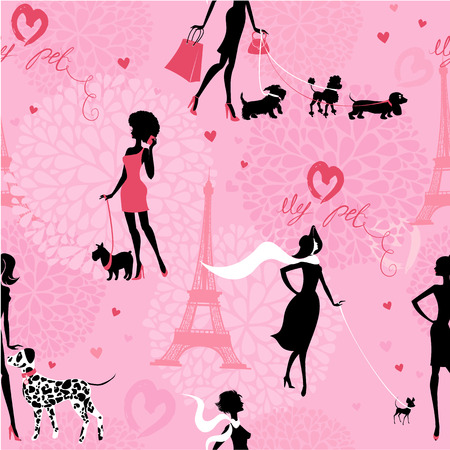 Seamless pattern with black silhouettes of fashionable girls with their pets - dogs (Dalmatian, dachshund, terrier, poodle, chihuahua) on a pink floral background. Ready to use as swatch Vector