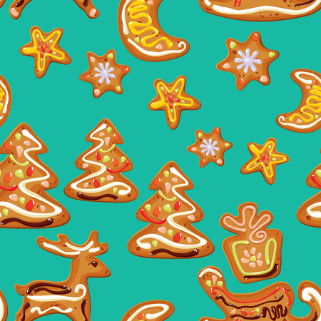 moon cake festival: seamless christmas pattern  - xmas  gingerbread  on blue background- cookies in reindeer, star, moon and fir-tree shapes Illustration