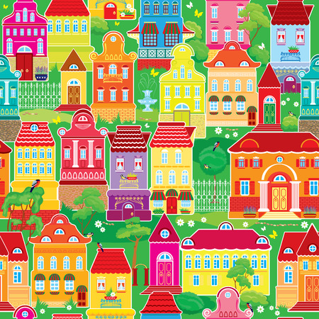 balcony view: Seamless pattern with decorative colorful houses, spring or summer season. City endless background. Ready to use as swatch