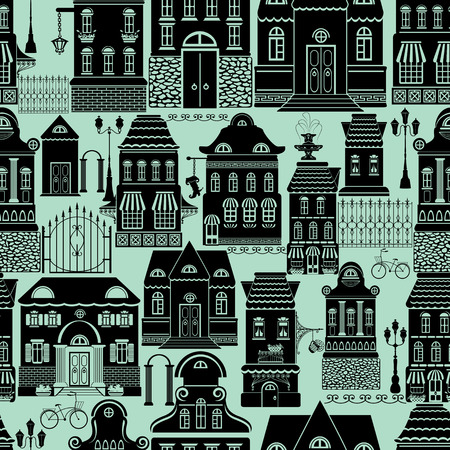 streetlamp: Seamless pattern with fairy tale houses, lanterns, trees. City endless background. Ready to use as swatch. Black silhouettes on blue background. Illustration