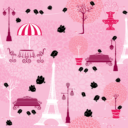 Seamless pattern with black birds silhouettes (sparrows) and town landscape with Effel Tower on a pink floral background.  Ready to use as swatch Vector