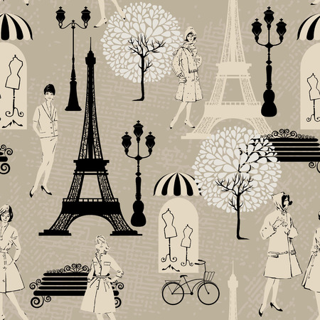 old fashioned: Seamless pattern - Effel Tower, street lights, old fashioned girls  - Background for fashion or retail design in vintage style. Illustration
