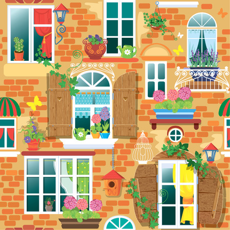 Seamless pattern with Windows and flowers in pots. Summer or spring season. Ready to use as swatch Vector