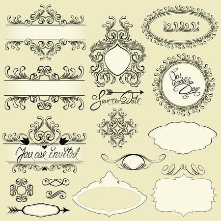 Vintage ornaments and frames, vignettes, calligraphic design elements and page decoration, calligraphic text.