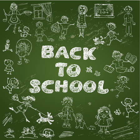 Chalkboard with green surface. Set of Kids drawing - childish style picture and handwritten words BACK TO SCHOOL. Vector