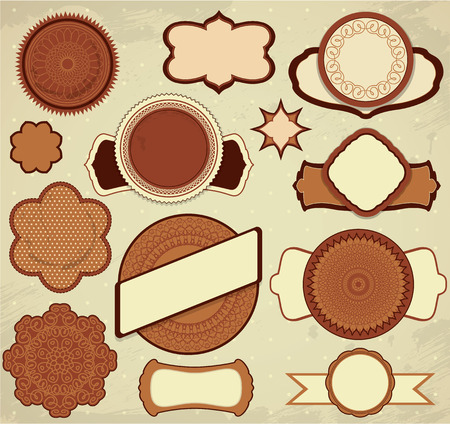 Vintage chocolate labels set in brown and beige colors with ornamental details, circle frames, borders, etc. Vector
