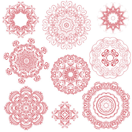 background kaleidoscope: Set of one color round ornaments, Lace floral patterns