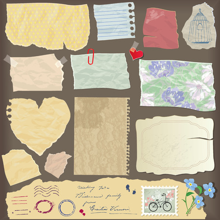 Set of old paper peaces - different aged paper objects, vintage backgrounds and elements Vector