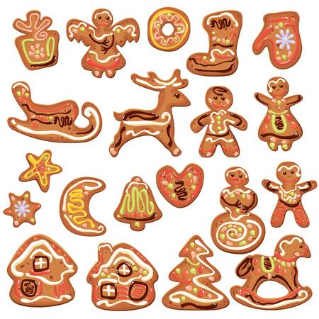 galletas de jengibre: Juego de navidad de pan de jengibre aislado en blanco - cookies en renos, estrellas, luna, gente, corazón, casa y formas de abeto. Elementos para el diseño de Navidad y Año Nuevo