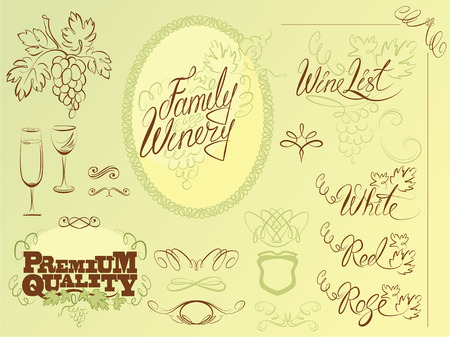 Set of wine design elements for bar or restaurant - signs, icons, vignettes collection, calligraphy words - FAMILY WINERY, WINE LIST, red, white, rose. Vector