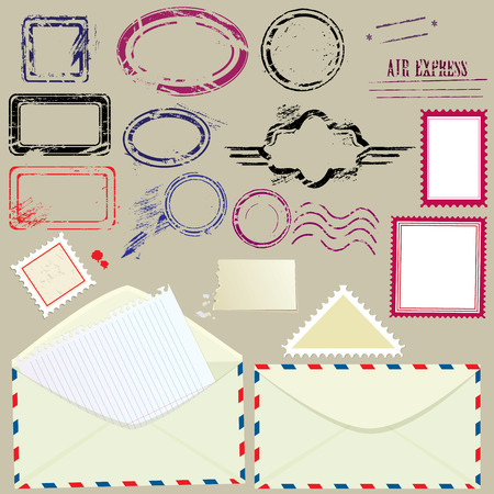 Collection of mail design elements - blank postmarks, stamps and envelopes - postage set. Vector