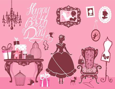 Princess Room met glamour accessoires, meubels, kooien, geschenkdozen, foto's. Prinses meisje en hond - silhouetten op roze achtergrond. Handgeschreven tekst Gelukkige Verjaardag. Vakantiekaart voor meisjes. Stockfoto - 32319671