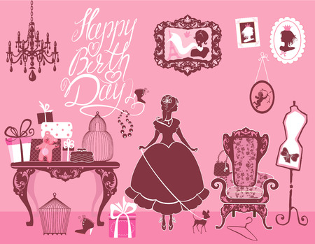 text room: Princess Room with glamour accessories, furniture, cages, gift boxes, pictures. Princess girl and dog - silhouettes on pink background. Handwritten text Happy Birthday. Holiday card for girls. Illustration