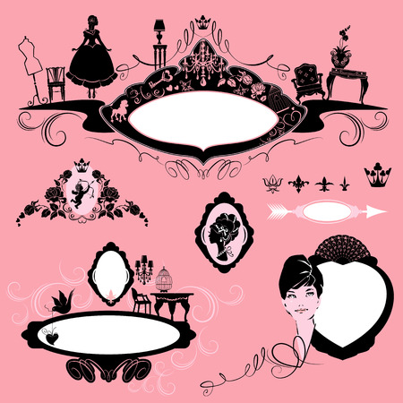 boudoir: Frames with glamour accessories, furniture, girl portrait  - black silhouettes on pink background. Set of fashion elements - oval, circle, vignette - for magazine, book, invitation, card, etc. design