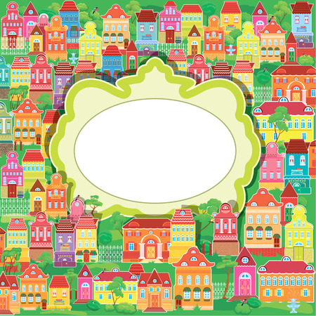 balcony view: Frame and decorative colorful houses on baskground. Spring or summer season, card with small fairy town.