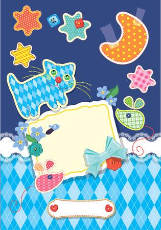 lullaby: Tarjeta para los ni�os - marco, gato, rat�n, las estrellas y la luna est�n hechas de tela - fondo infantil. Vectores