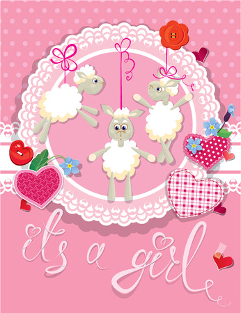 Pink baby shower card with sheep and hearts - design for girls. Birthday Invitation with handwritten text It`s a girl. Vector