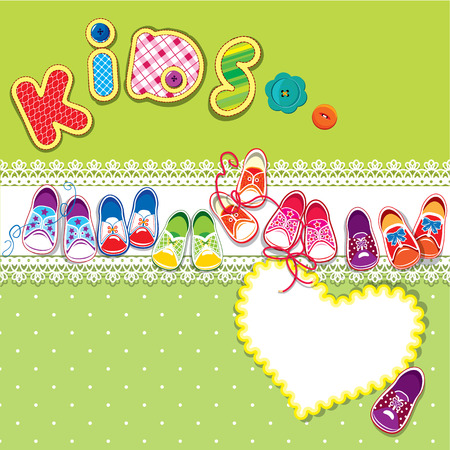 kids feet: Card - children gumshoes, lace heart and word KIDS on green background Illustration