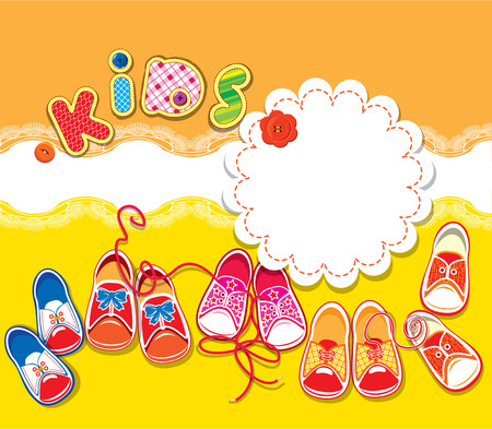 baby shoes: Card - children gumshoes, lace frame and word KIDS on orange and yellow background