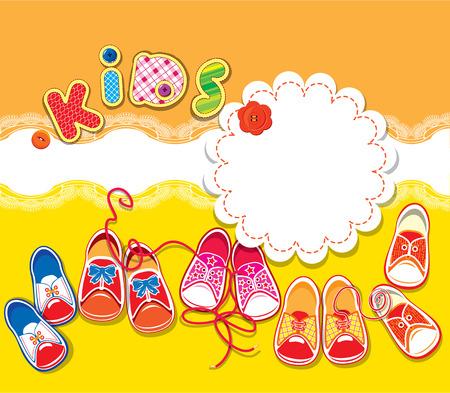 Card - Kinder gumshoes, Spitze Rahmen und Wort KIDS auf orange und gelben Hintergrund