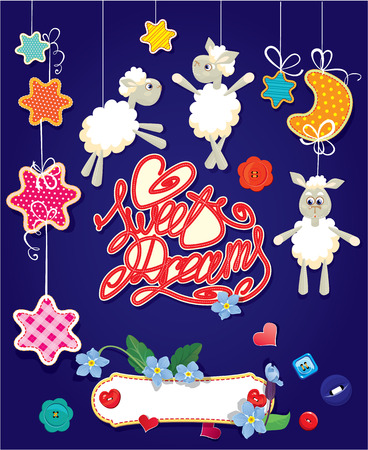 Baby shower card with stars, moon, sheep and hearts. Handwritten text Sweet Dreams. Vector