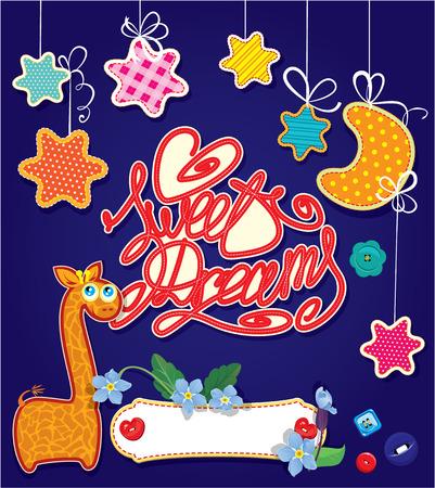 dulces sue�os: Dulces sue�os - estrellas y Luna Nueva est�n hechos de tela y colgando de cintas - Fondo infantil