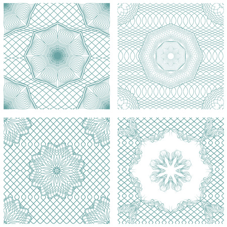 Set of seamless patterns - Guilloche ornamental Elements for Certificate, Money, Diploma, Voucher, decorative round frames.  Vintage backgrounds. Ready to use as swatch