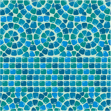 meander: Seamless mosaic pattern - Blue ceramic tile - classical geometric ornament. Ready to use as swatch Illustration