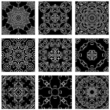 shawl: Set of squared backgrounds - ornamental seamless pattern. Design for bandanna, carpet, shawl, pillow or cushion.