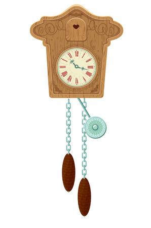 reloj cucu: madera de la vendimia del reloj de cuco - objeto aislado sobre fondo blanco Vectores