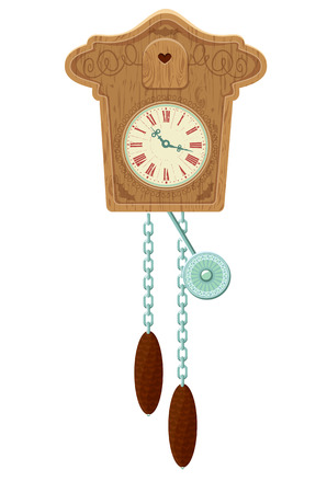 grandfather clock: vintage wooden Cuckoo Clock - object isolated on white background