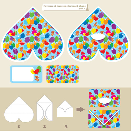 Template and scheme of envelope in heart shape. Pattern with Teddy bears and balloons. Elements for holiday, birthday, invitation, etc. design Vector