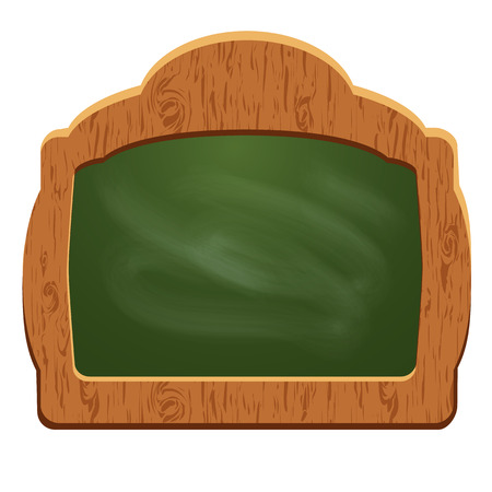 Wooden sign board (chalkboard) with wooden frame and green surface  - object isolated on white background. Empty space for your text. Vector