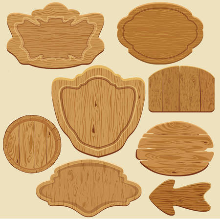 Set of different shapes wooden sign boards. Vector