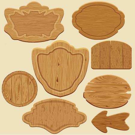 Set van verschillende vormen houten uithangborden. Stock Illustratie
