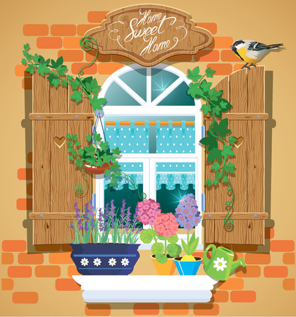 Window and flowers in pots, tomtit bird and handwritten text Home, Sweet Home. Summer or spring season. Çizim