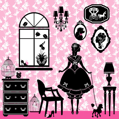 dressing table: Princess Room with glamour accessories, furniture, cages, pictures. Rrincess girl and dog - black silhouettes on pink background  - illustration for girls. Illustration