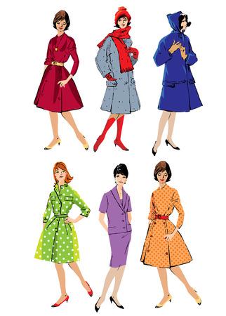 mujeres elegantes: Conjunto de mujeres elegantes - los modelos de moda de estilo retro - primavera o temporadas de oto�o. Imagen en color.