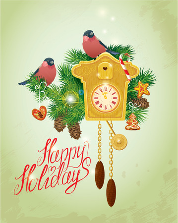 Card with vintage wooden Cuckoo Clock,  xmas gingerbread, candy, fir-tree branches and bullfinch birds. Hand written text Happy Holidays. Elements for Christmas and New Year holidays design.
