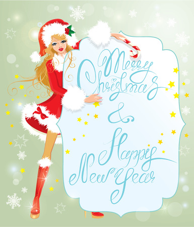 Blond xmas Girl wearing Santa Claus suit staying behaind frame with handwritten text Marry Christmas and Happy New Year Vector