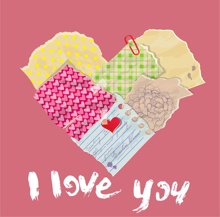 scrap paper: Scrapbooking Heart is made of Vintage Old Paper pieces and grunge handwritten text I love you. St Valentines day design. Illustration