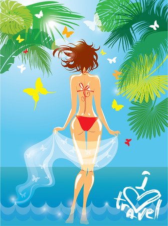 Woman in bikini swimwear at tropical beach with palm tree leaves and butterflies on background. I love travel illustration for summer, vacation or holidays design.