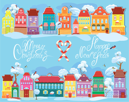 Christmas and New Year holidays card with small fairy town on light blue background with decorative colorful houses in winter time. Vector