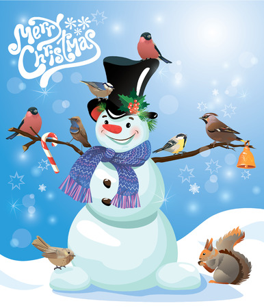 Card with funny snowman and birds on blue snow background, cartoons for winter, Christmas or New Year design. Hand written text Merry Christmas. Vector