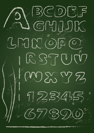 ABC - English alphabet written on a blackboard in white chalk - Handwritten grunge  letters and numerals Vector