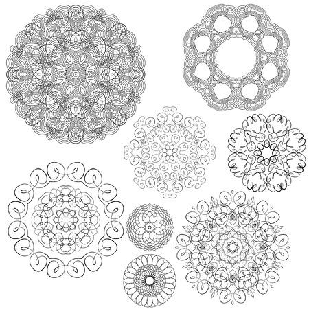 finance background: Set of Vintage backgrounds, Guilloche ornamental circle Elements for Certificate, Money, Diploma, Voucher, decorative round frames. Illustration