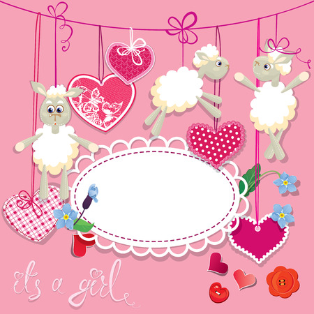 dolly: Pink baby shower card with sheep and hearts - design for girls. Birthday Invitation with handwritten text It`s a girl.